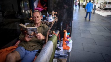 Bobby, on King Street, sleeping rough in the CBD.