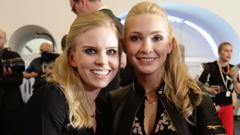 Susanne Thier, left, girlfriend of Foreign Minister Sebastian Kurz, and Philippa Strache, wife of Freedom Party leader Hans-Christian Strache, in Vienna, on Sunday.