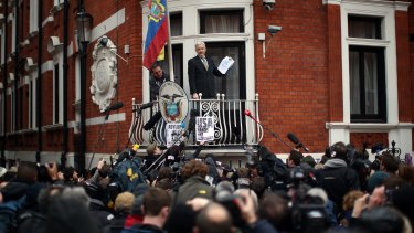 Wikileaks founder Julian Assange speaks from the balcony of the Ecuadorian embassy in London where he has lived since 2012.