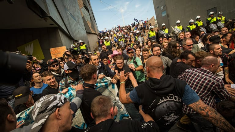 Rally against racism protesters clash with Reclaim Australia protesters at Federation Square in April.