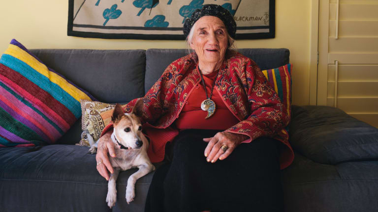 Barbara Blackman and her dog Piece of String at home in Canberra.