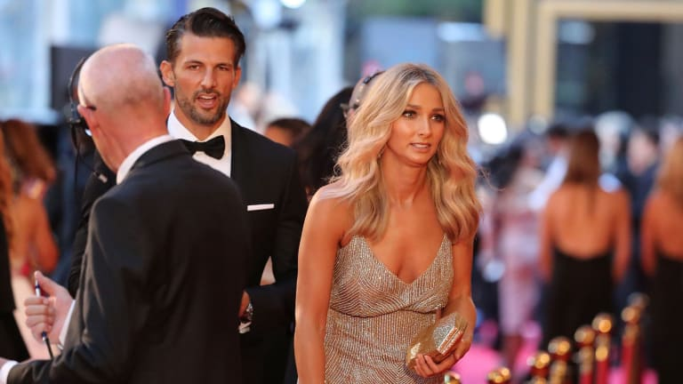 Of Bachelor fame, Tim Robards and Anna Heinrich arrive at the 59th Annual Logie Awards.