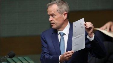 Opposition Leader Bill Shorten tables the renunciation documents.