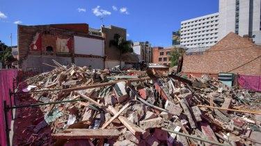 All that was left of Carlton's Corkman Irish Pub immediately after its illegal demolition.