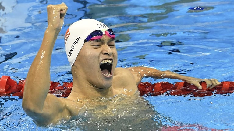 Rio rage: Olympic champion Sun Yang.
