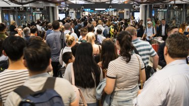 Overcrowding at Town Hall Station during the evening peak last Tuesday.