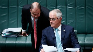 Energy Minister Josh Frydenberg and Prime Minister Malcolm Turnbull during Question Time at Parliament House in Canberra on Wednesday 18 October 2017. fedpol Photo: Alex Ellinghausen