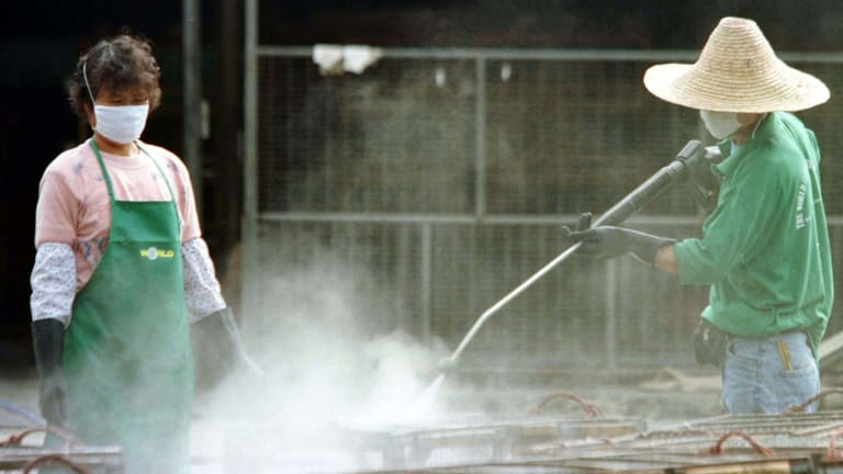 A worker uses a chemical spray to clean chicken cages at Hong Kong's Cheung Sha Wan chicken wholesale market, which was declared a bird flu-infected area.