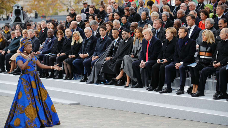 Angelique Kidjo performs in front of  world leaders at the Arc de Triomphe in Paris on Armistice Day.