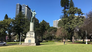 A number of statues in Hyde Park, Sydney, have been defaced by protesters.