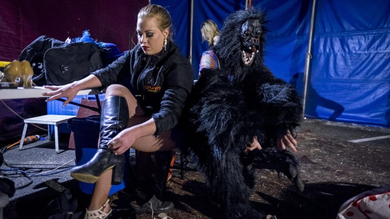 Contortionist Lara Caitlin Nilon-Pobjoy (with Joe in the gorilla suit).
