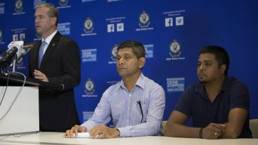 Appeal: Arun Kumar husband of stabbing victim Prabha Arun Kumar (right) and Mrs Kumar's brother Shankar Shetty (centre) with Detective Superintendent Mick Willing at a police media conference,