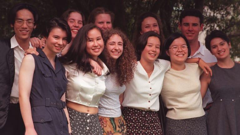 The class of 1995: front: Amber Glynn, Allison Newey, Stephanie Ward, Sally Yue, Sylvia Mak, Saadiah Freeman. Back: Andy Wang, Nicolette Maury, Katrina Sanders, Kirrily Stow, John Butts.