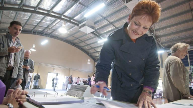 Pauline Hanson on election day at Jamboree State School in Brisbane.