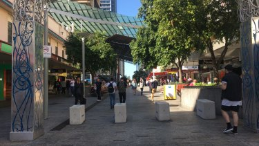 Security bollards have been installed at Brisbane's Queen Street Mall.