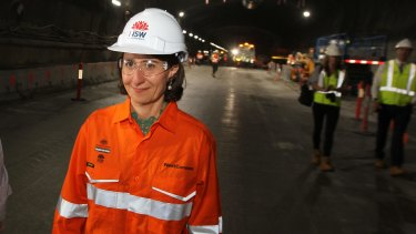 Premier Gladys Berejiklian in one of the twin M4 East tunnels. The government attributes its spending on consultants to its extensive infrastructure program.