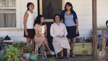 Julie (left, Jessica Mauboy), Cynthia (Miranda Tapsell), Geraldine (Kylie Belling) and Gail (Deborah Mailman) in a scene from Wayne Blair's The Sapphires.