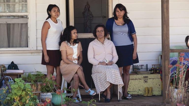 Julie (left, Jessica Mauboy), Cynthia (Miranda Tapsell), Geraldine (Kylie Belling) and Gail (Deborah Mailman) in a scene from Wayne Blair's The Sapphires.