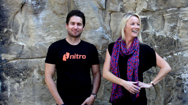 Sam Chandler with Nitro chief operating officer Gina O'Reilly. A third of the company's employees and a third of its senior executives are female.