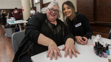 Nailed it: Darlene (left) had her nails done thanks to the services of Adele Zacharias.