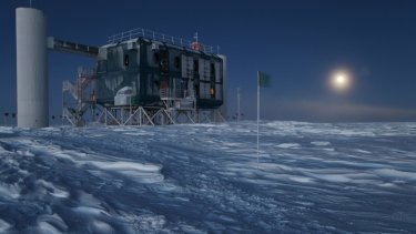 The IceCube detector is a cubic kilometre of Antarctic ice  threaded with sensitive light detectors.