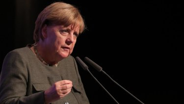 The incumbent: German Chancellor Angela Merkel speaks during a campaign rally in Hamburg this month.