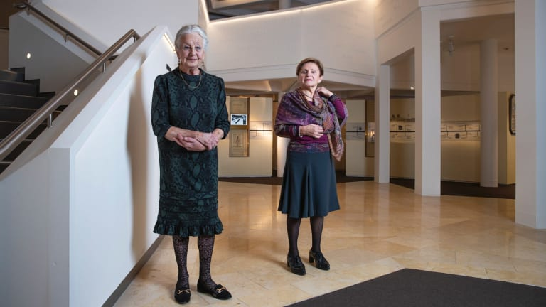 Olga Horak, left, and Dasia Black, photographed at the Jewish Museum in Sydney, which has published their books.