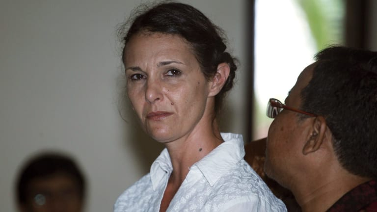 Australian Sara Connor listens to an Indonesian interpreter during her trial in Bali, in February.