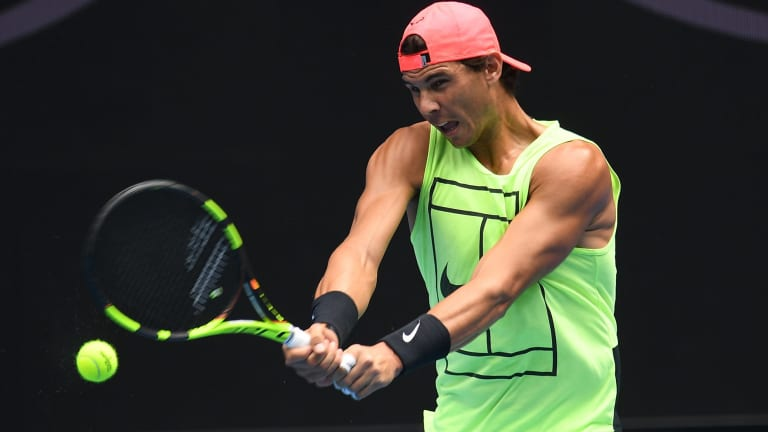 Rafael Nadal looks fit as he trains in preparation for the Australian Open.