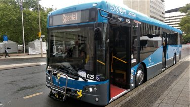 The first of the new fleet of blue ACTION buses was unveiled outside the ACT Legislative Assembly on Thursday.