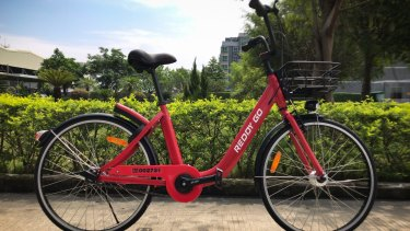 A sample of the Reddy Go red bike to be launched in Sydney.