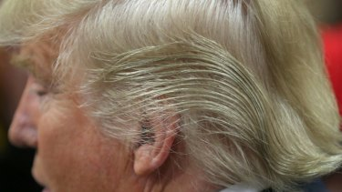 Republican presidential candidate Donald Trump's hair