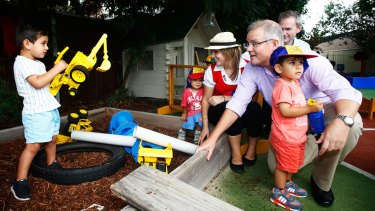 """There are better and fairer ways that benchmark pricing can be achieved"": Social Services Minister Scott Morrisonvisits ""Kinderoos"" childcare centre in Bexley North."