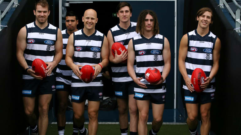 Stewart Crameri (left) with fellow Geelong recruits (L-R) Tim Kelly, Gary Ablett, Charlie Constable, Gryan Miers and Lachie Fogarty.