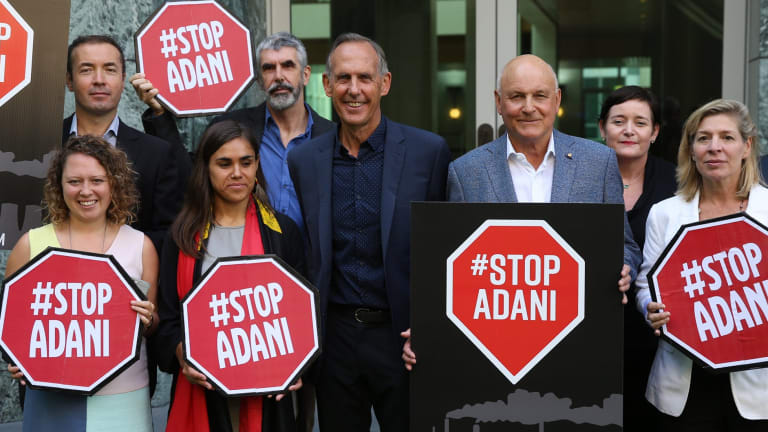 Bob Brown returned to Parliament House in Canberra with Geoff Cousins and environmental groups to protest against the Adani coal mine.