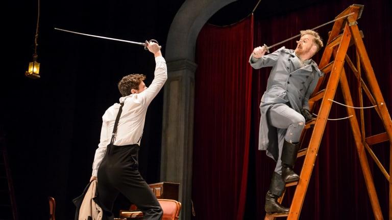Tim Walter (left) as Valvert and Damien Ryan as Cyrano in Cyrano de Bergerac at the Playhouse.