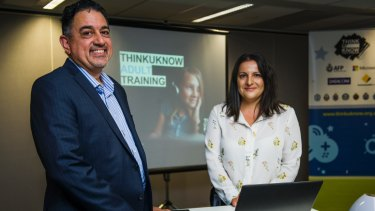 Datacom account manager and father-of-two Kal Thompson, has been volunteering his time to help teach adults how to keep young people safe online. The Australian Federal Police runs the ThinkUKnow program with the AFP's coordinator of missing persons and child exploitation, Marina Simoncini, urging adults not to be intimidated by technology but to help their children navigate it safely.
