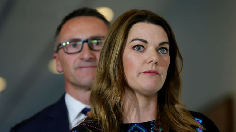 Greens senators Sarah Hanson-Young and Richard Di Natale.
