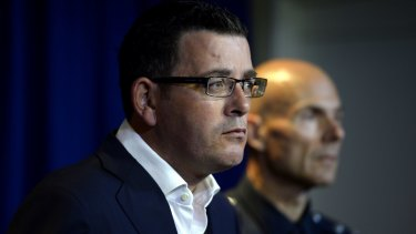 Victorian Premier Daniel Andrews and police Deputy Commissioner Andrew Crisp at a press conference at Saturday night's gang violence in Melbourne.