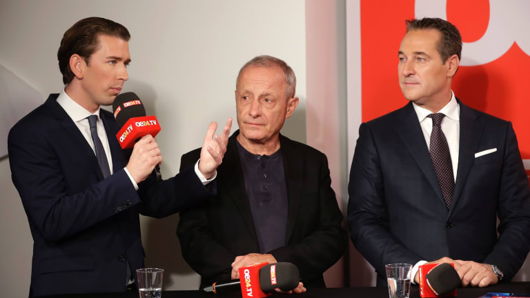 From left: Sebastian Kurz, with Peter Pilz of Liste Pilz and Hans-Christian Strache, leader of the strongly eurosceptic Austrian Freedom Party, on TV on Sunday night.