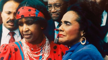 Winnie Mandela, left, with Coretta Scott King, widow of American civil rights leader  Martin Luther King jnr, in Soweto in 1986.