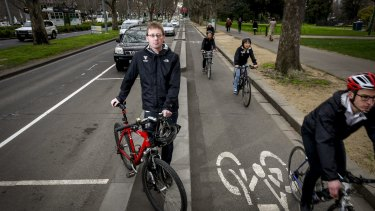 Bicycle Network chief executive Craig Richards on St Kilda Road.