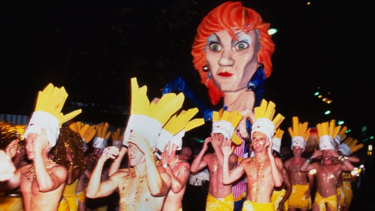 Pauline Hanson and her dancing chip boys in the 1997 parade.