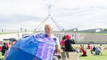 Jane Keogh at the Rally for asylum seekers at Parliament House.
