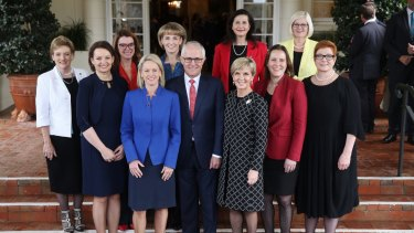 Prime Minister Malcolm Turnbull with female members of the ministry after the swearing in ceremony at Government House in July.