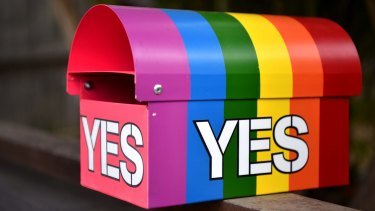 A message in support of a Yes vote in the marriage equality postal survey seen on a mailbox.