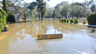 Forbes in flood on Saturday from Forbes Advocate journalist Olivia Grace-Curran. About 17mm of rain fell on Saturday night.