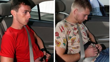 Andreas Von Knorres (left) and Elton Hinz arrive at the Subordinate Courts in Singapore on Thursday.
