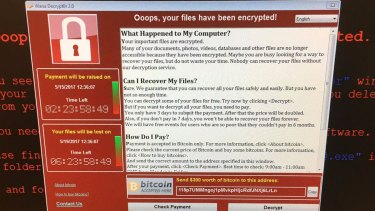 A computer screen shows an error message after Britain's National Health Service was hacked.