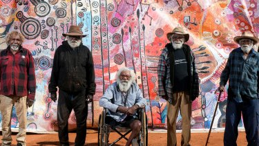 The men's collaborative work is part of the Nganampa Kililpil – Our Stars exhibition at the Hazelhurst Regional Gallery.